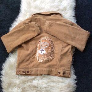 Tan corduroy bomber jacket w/ lion patch on back